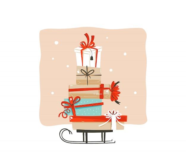 Dibujado a mano diversión abstracta feliz navidad compras tarjeta de ilustración de felicitación de dibujos animados con muchas coloridas cajas de regalo sorpresa en trineo sobre fondo blanco. Vector Premium