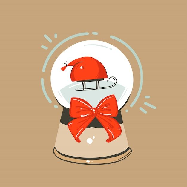 Dibujado a mano diversión abstracta feliz navidad y feliz año nuevo tarjeta de felicitación de ilustración de dibujos animados con globo de cristal de nieve de navidad y trineo con cajas de regalo en el fondo del arte. Vector Premium
