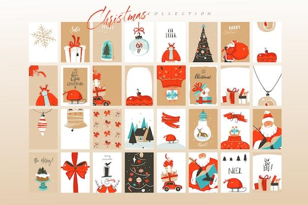Dibujado a mano diversión abstracta feliz navidad tiempo dibujos animados ilustraciones tarjetas de felicitación plantilla y fondos gran colección conjunto aislado sobre fondo blanco. Vector Premium