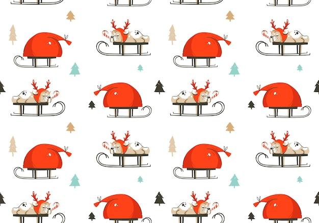 Dibujado a mano diversión abstracta feliz navidad tiempo ilustración de dibujos animados de patrones sin fisuras Vector Premium