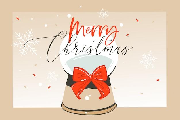 Dibujado a mano diversión abstracta ilustración de dibujos animados de feliz navidad tarjeta de felicitación con esfera de globo de nieve de cristal y caligrafía de navidad sobre fondo de artesanía. Vector Premium
