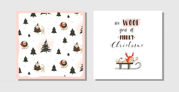 Dibujado a mano divertidas tarjetas de feliz navidad tiempo coon con lindas ilustraciones, perro pug en trineo y texto de tipografía moderna sobre fondo blanco Vector Premium