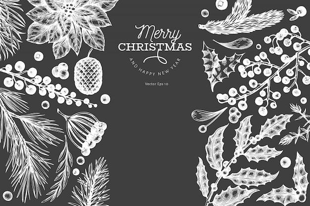 Dibujado a mano elementos navideños, blanco Vector Premium