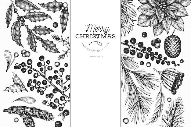 Dibujado a mano elementos navideños, negro Vector Premium
