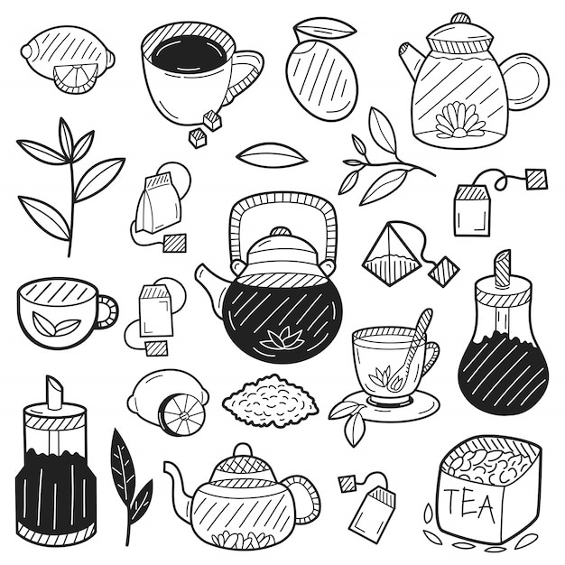 Dibujado a mano elementos de té Vector Premium