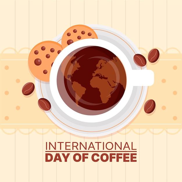 Dibujado a mano estilo día internacional del café. vector gratuito