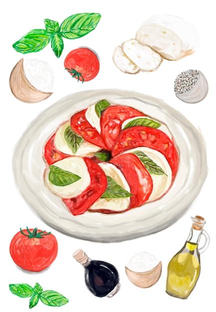 Dibujado a mano estilo ensalada acuarela caprese vector gratuito