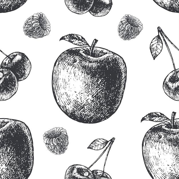 Dibujado a mano estilo de grabado patrón de fruta transparente en blanco y negro. pera, manzana, cerezas, tela de frambuesa, papel, fondo. Vector Premium