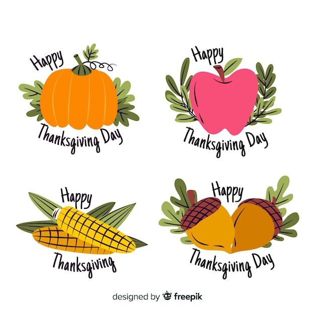 Dibujado a mano etiquetas de acción de gracias con verduras vector gratuito