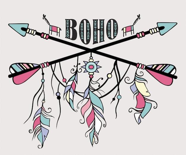 Dibujado a mano étnico atrapasueños. flechas étnicas, plumas. Vector Premium