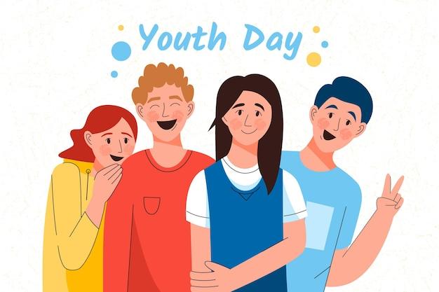 Dibujado a mano la felicidad del evento del día de la juventud vector gratuito
