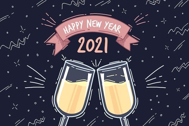 Dibujado a mano feliz año nuevo 2021 copas con champagne vector gratuito