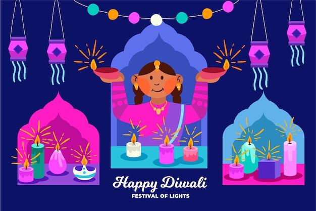 Dibujado a mano feliz concepto de diwali vector gratuito