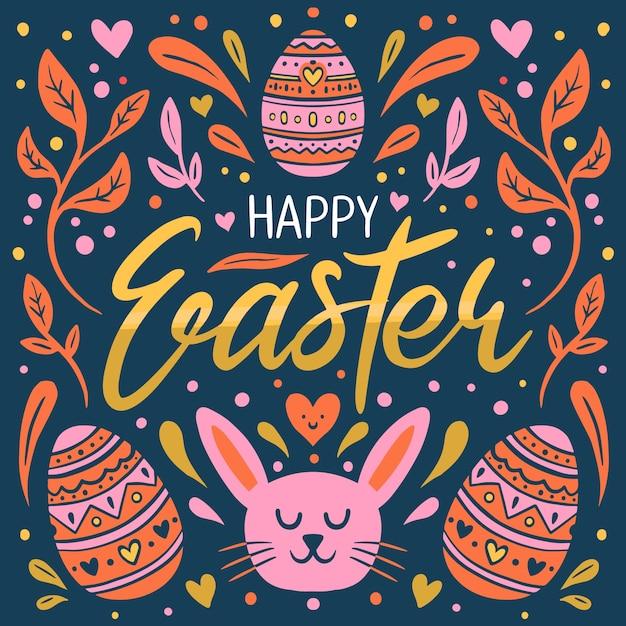 Dibujado a mano feliz día de pascua con cara de conejo y huevos vector gratuito