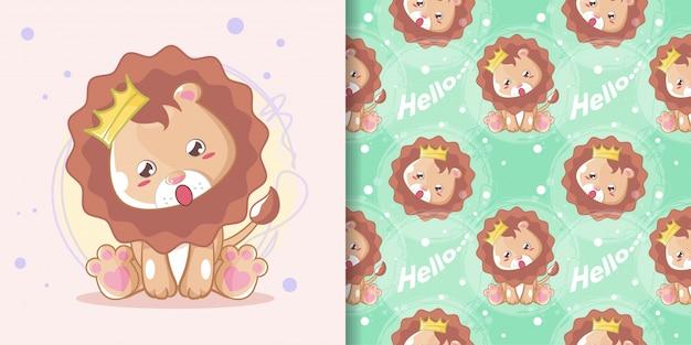 Dibujado a mano feliz lindo león con conjunto de patrones Vector Premium