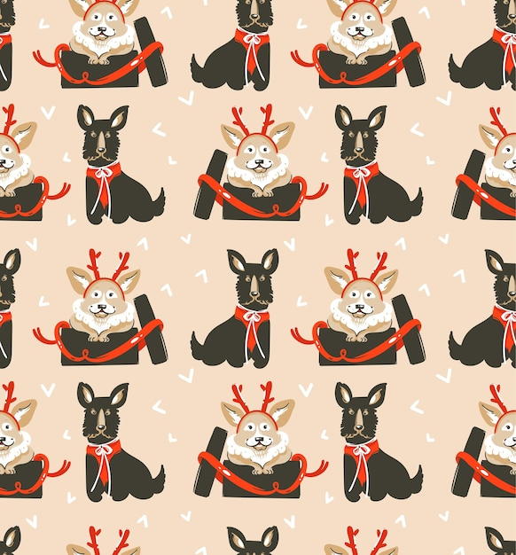 Dibujado a mano feliz navidad de patrones sin fisuras con lindos perros divertidos Vector Premium