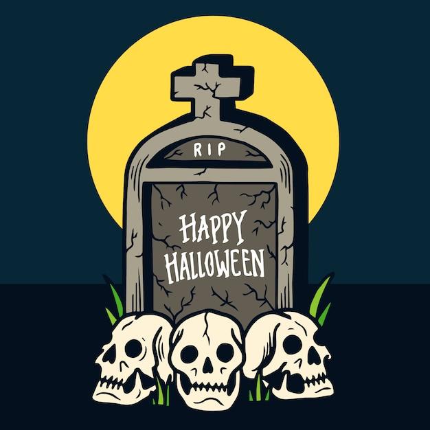 Dibujado a mano feliz tumba de halloween y tres calaveras ilustración Vector Premium