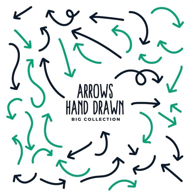Dibujado a mano flechas direccionales en estilo doodle vector gratuito