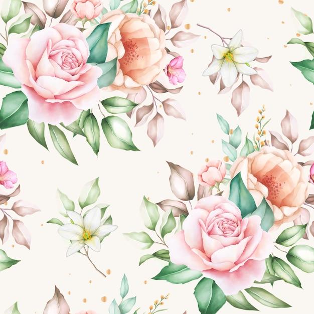 Dibujado a mano floral acuarela de patrones sin fisuras vector gratuito