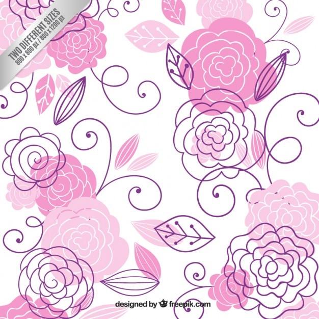 Dibujado A Mano Flores De Color Rosa Fondo Descargar Vectores Gratis