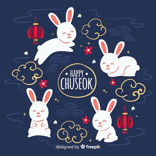 Dibujado a mano fondo festival de chuseok vector gratuito