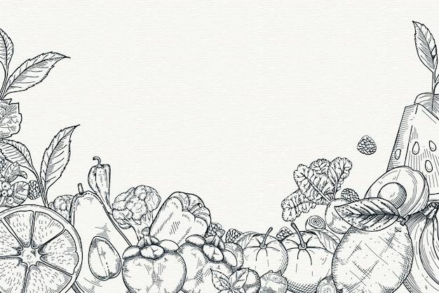 Dibujado a mano fondo de frutas y verduras Vector Premium