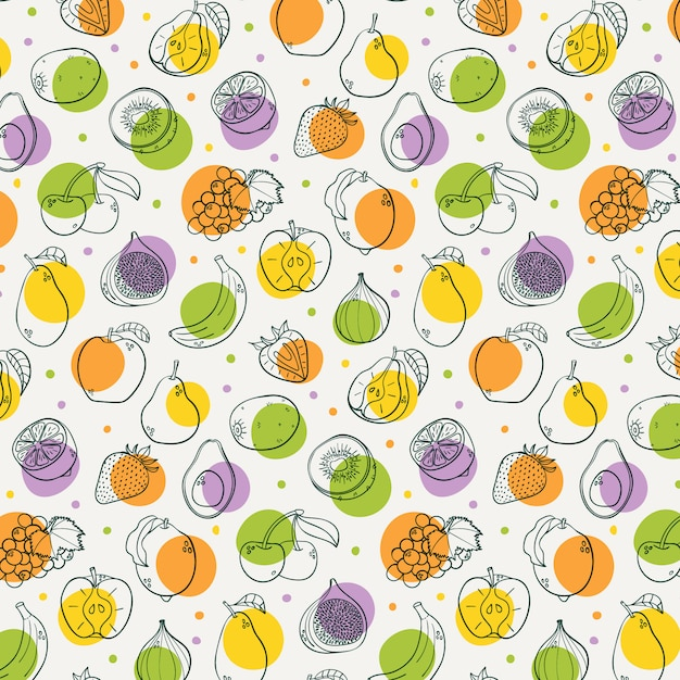 Dibujado a mano frutas de patrones sin fisuras Vector Premium