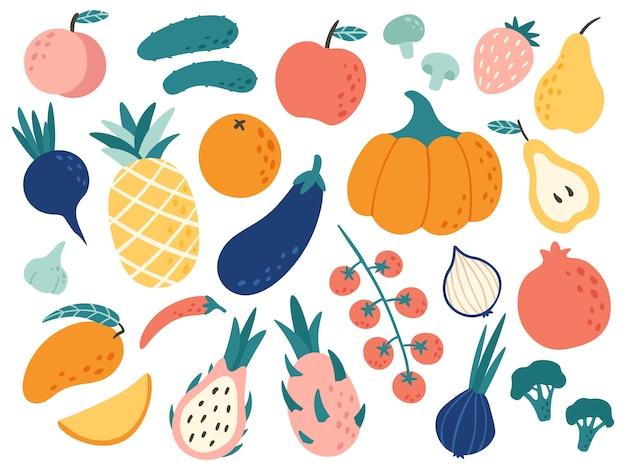 Dibujado a mano frutas y verduras. doodle comida orgánica, cocina vegetariana vegana y conjunto de ilustración de garabatos Vector Premium