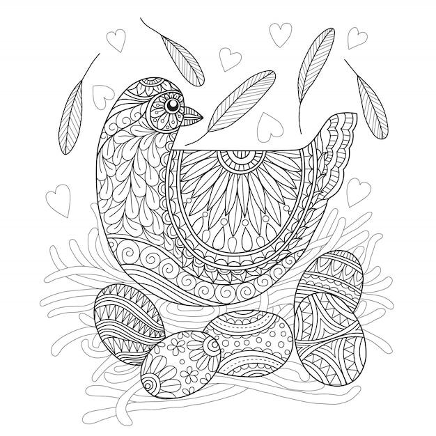 Dibujado a mano gallina y huevo Vector Premium