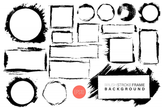 Dibujado a mano grunge marcos grandes formas gran conjunto. Vector Premium