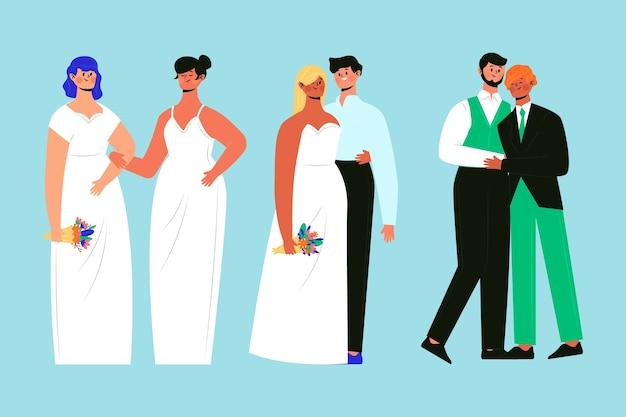Dibujado a mano grupo de parejas de boda vector gratuito