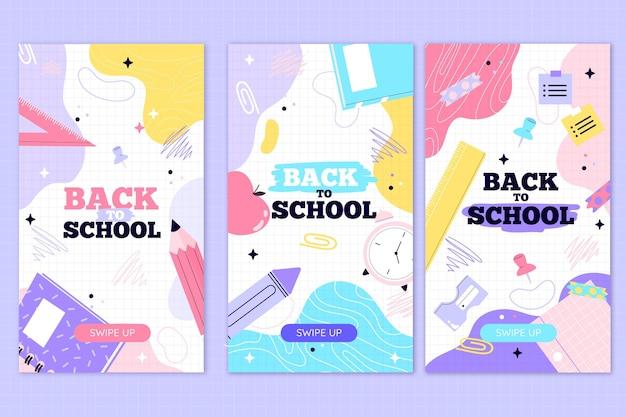 Dibujado a mano historias de instagram de regreso a la escuela vector gratuito