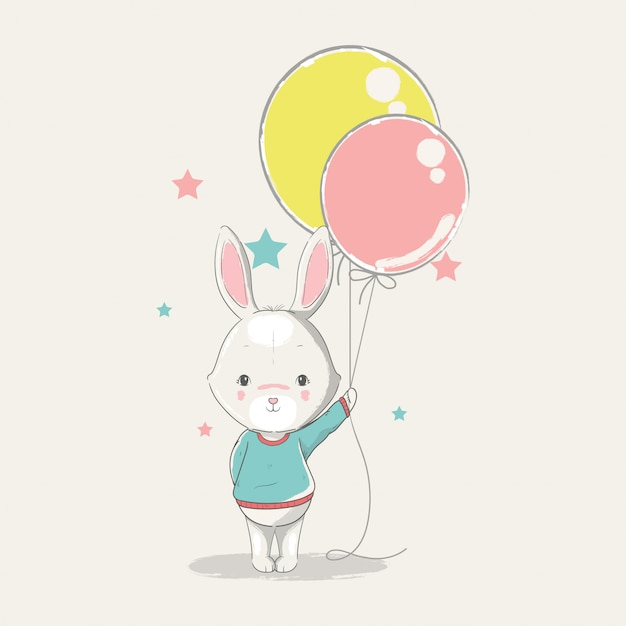 Dibujado a mano ilustración de un conejito lindo bebé con globos. Vector Premium