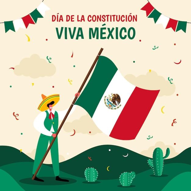 Dibujado a mano ilustración de dia de la constitucion vector gratuito