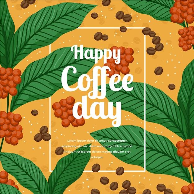 Dibujado a mano ilustración del día internacional del café Vector Premium
