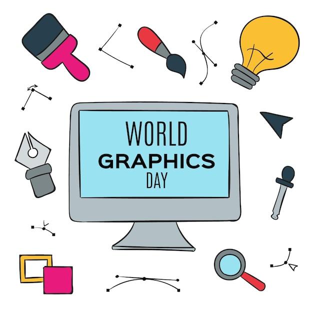 Dibujado a mano ilustración del día mundial de los gráficos vector gratuito