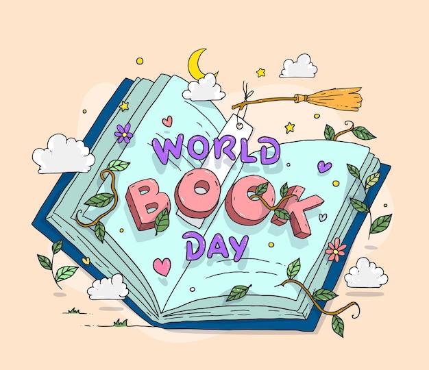 Dibujado a mano ilustración del día mundial del libro vector gratuito