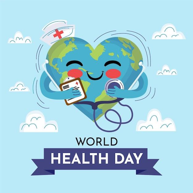 Dibujado a mano ilustración del día mundial de la salud vector gratuito