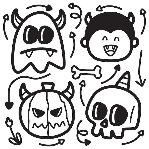 Dibujado a mano ilustración de diseño de doodle de halloween Vector Premium