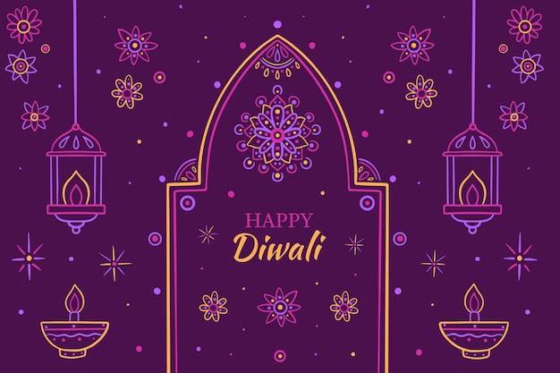 Dibujado a mano ilustración de diwali vector gratuito