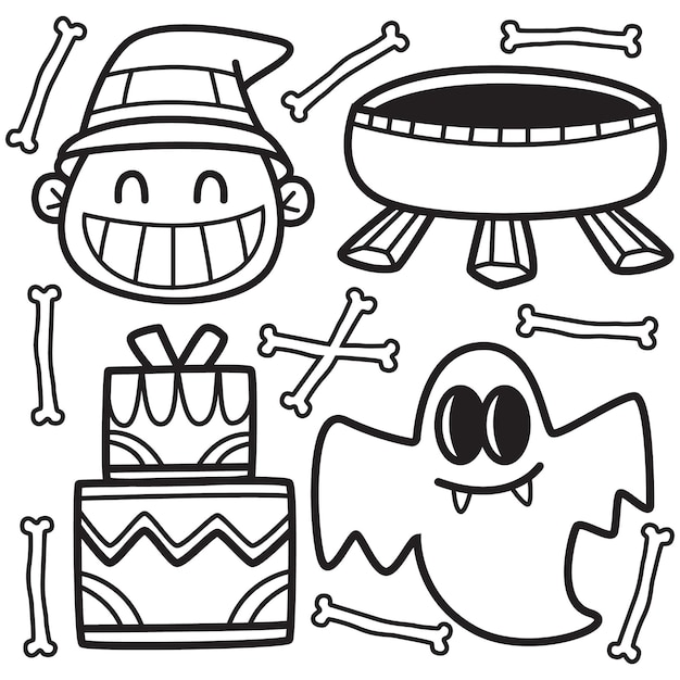 Dibujado a mano ilustración de doodle de halloween Vector Premium