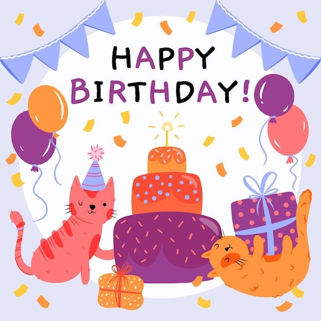 Dibujado a mano ilustración de feliz cumpleaños vector gratuito