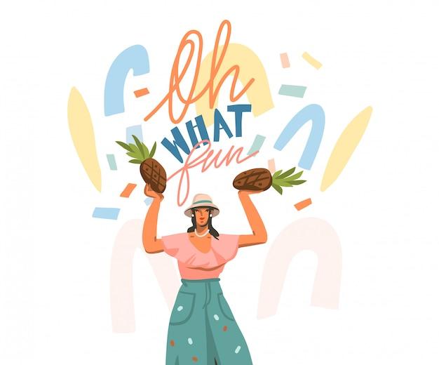 Dibujado a mano ilustración gráfica abstracta con feliz femenino y escrito a mano positivo oh, qué divertido citar formas de texto y collage sobre fondo blanco Vector Premium