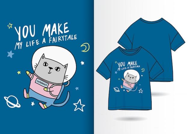 Dibujado a mano ilustración lindo gatito con diseño de camiseta Vector Premium