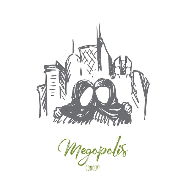 Dibujado a mano ilustración de megopolis Vector Premium