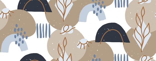 Dibujado a mano ilustración moderna con moda abstracta varias formas y ojos, objetos de doodle. resumen de moda moderna de patrones sin fisuras. retro, textura pin-up repetitiva. Vector Premium