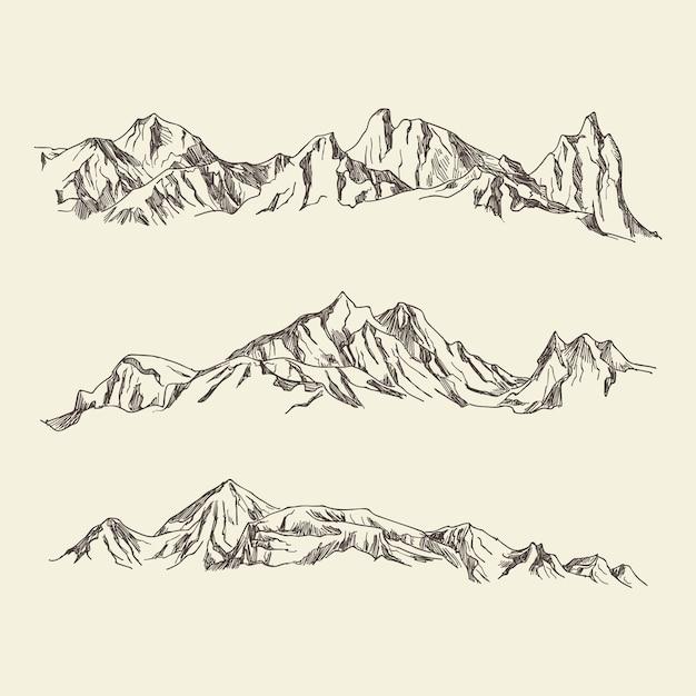Dibujado a mano ilustración montañas Vector Premium