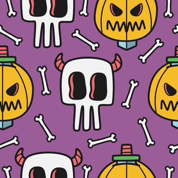 Dibujado a mano ilustración de patrón de doodle de halloween Vector Premium
