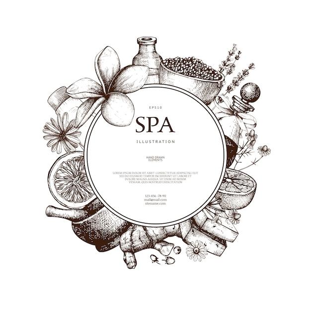Con dibujado a mano ilustración de spa en blanco. fondo de dibujo de belleza con cosmética natural. plantilla vintage con elementos exóticos y herbales. Vector Premium