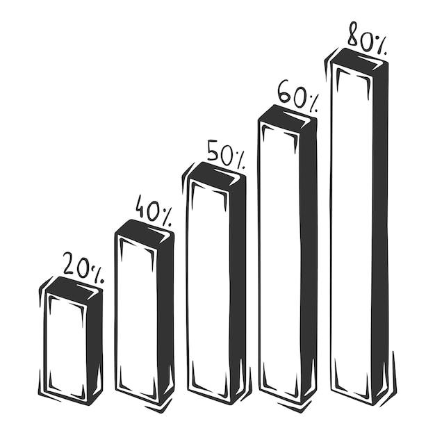 Dibujado a mano de infografías de columna, aislado sobre fondo blanco. Vector Premium